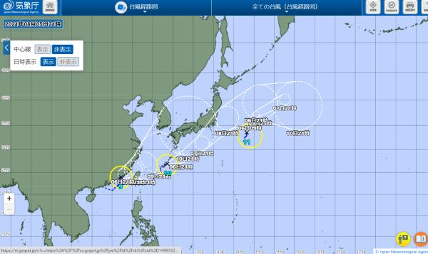 台風10号の進路 2021.8.6