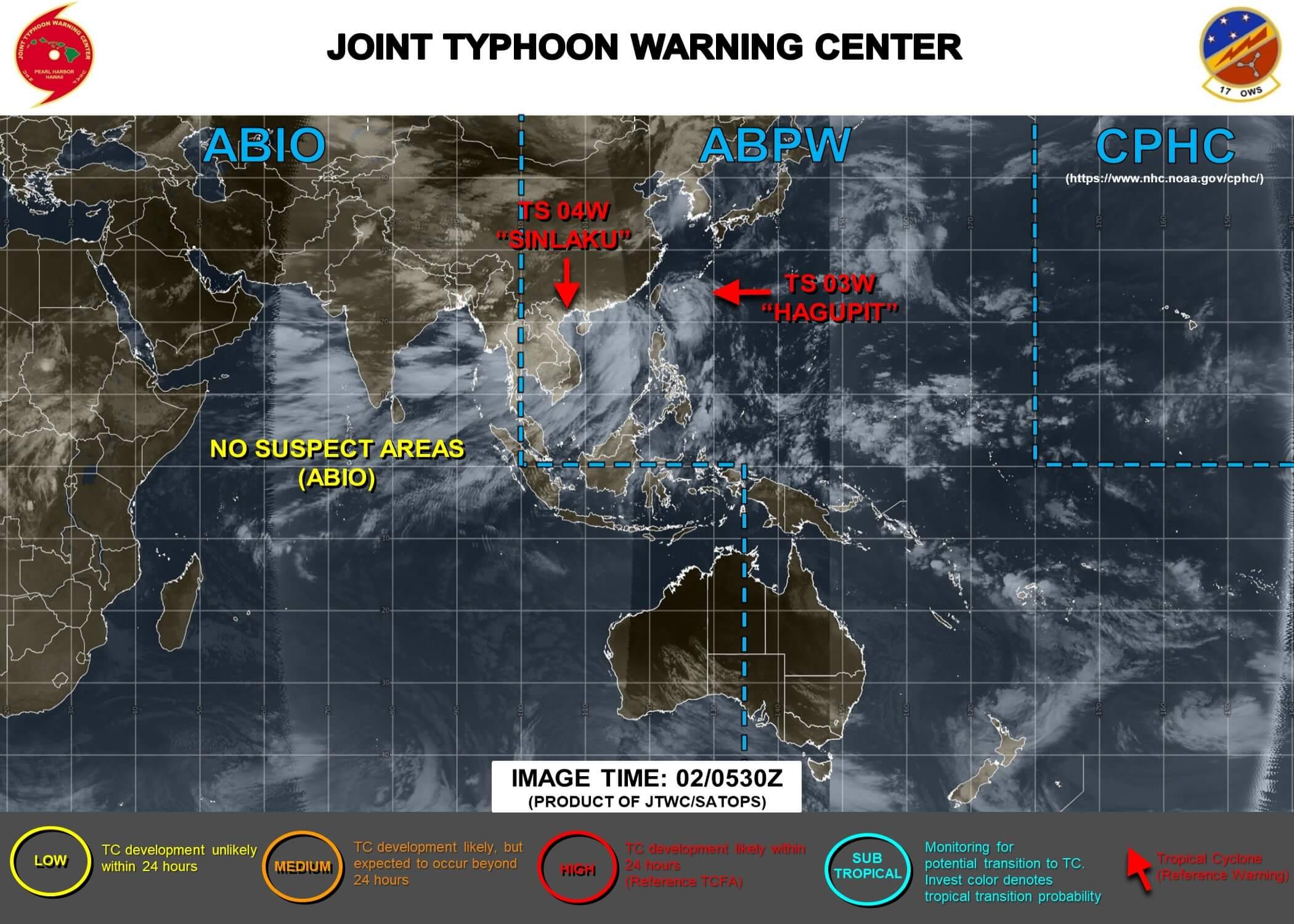 米軍合同台風情報センター台風4号情報画像