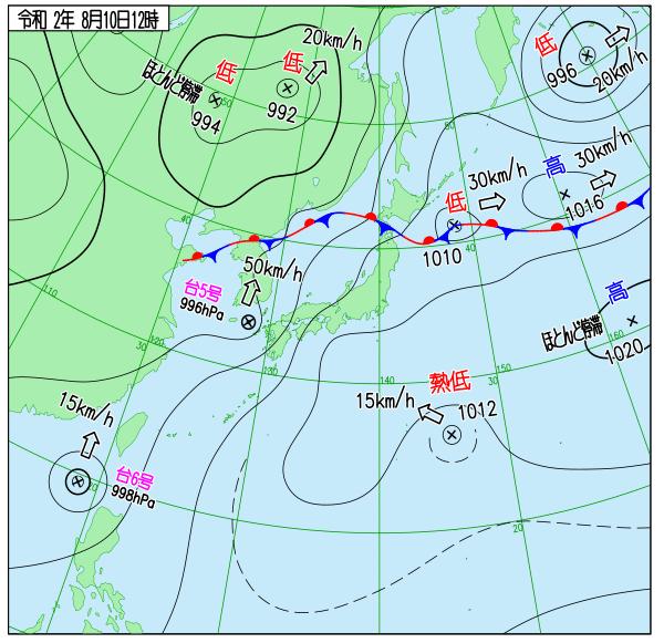 気象庁天気図20081012