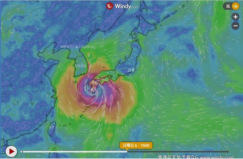 台風10号Windy2020-09-02