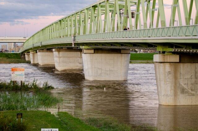増水した荒川にかかる鉄橋