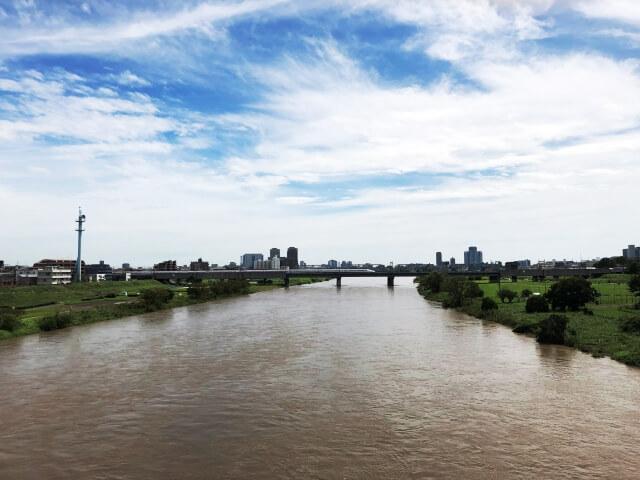 台風の後に増水した川