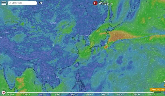 台風12号たまごwindy天気予想図2020-09-15