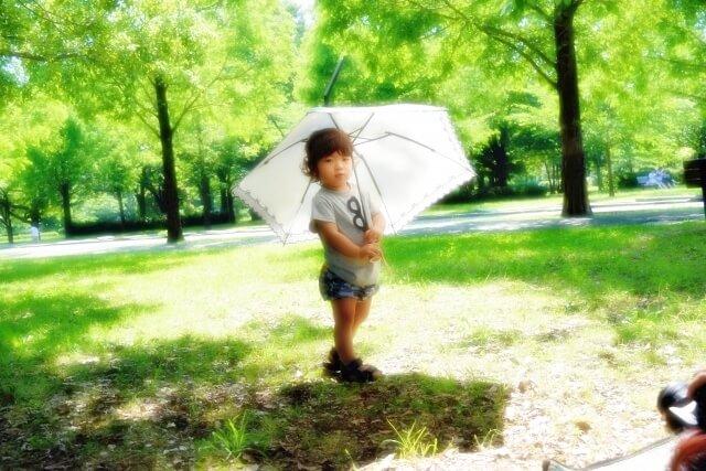 子供が日傘をさしている様子