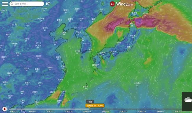 台風12号windy9.25