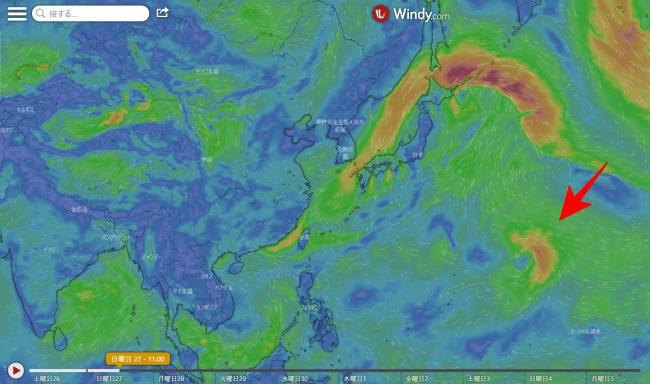 台風13号たまご2020.9.26時点での天気予想図