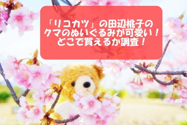 「リコカツ」の田辺桃子のクマのぬいぐるみが可愛い!どこで買えるか調査!