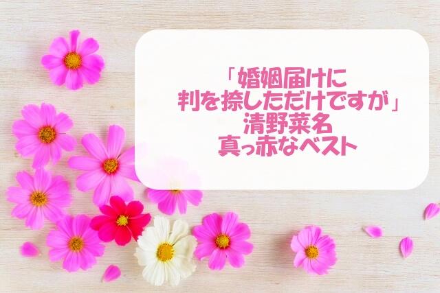 「婚姻届けに判」の清野菜名の赤いベスト